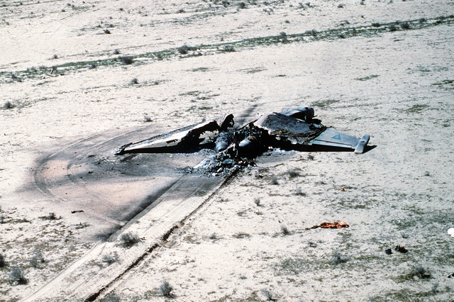 A view of an Iraqi Su-25 fighter aircraft destroyed in a Coalition attack during Operation Desert Storm.