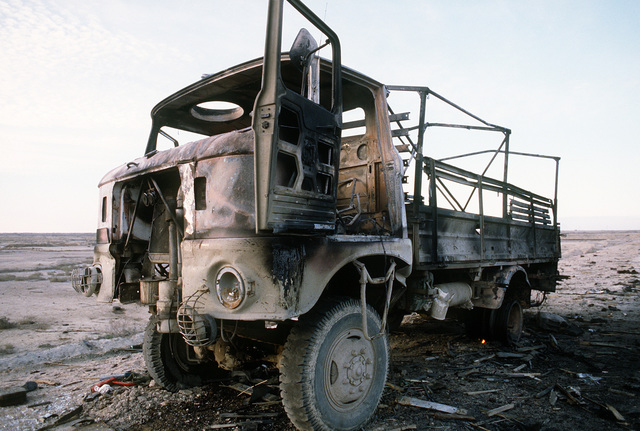 A demolished Iraqi GAZ-66 8000-pound truck in the Euphrates River Valley in the aftermath of Operation Desert Storm.