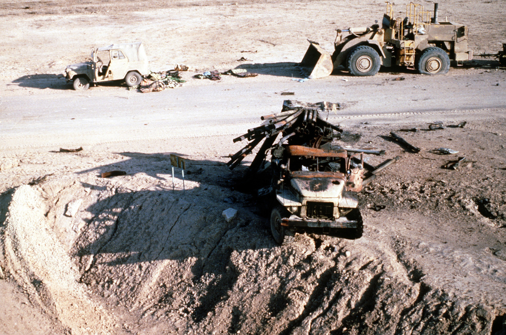 An Iraqi BM-21a 122mm multiple rocket system destroyed in the Euphrates River Valley during Operation Desert Storm.