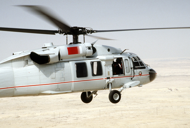 A UH-60 Black Hawk (Blackhawk) rescue helicopter from Bahrain takes off on a mission in the aftermath of Operation Desert Storm.