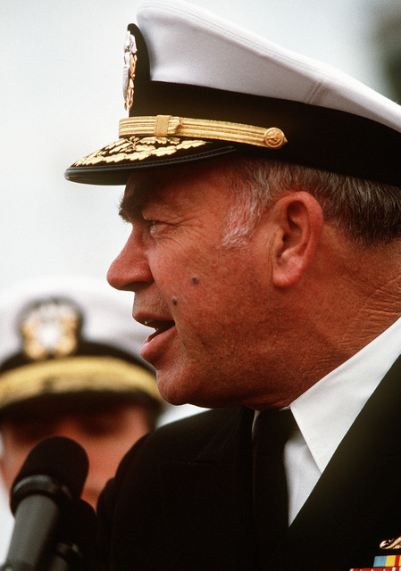 CHIEF of Naval Operations Adm. Frank B. Kelso II speaks during a ceremony to honor three former prisoners of war. LT. Robert Wetzel, LT. Jeffrey Zaun and LT. Lawrence Slade had been held by Iraq after being shot down during Operation Desert Storm