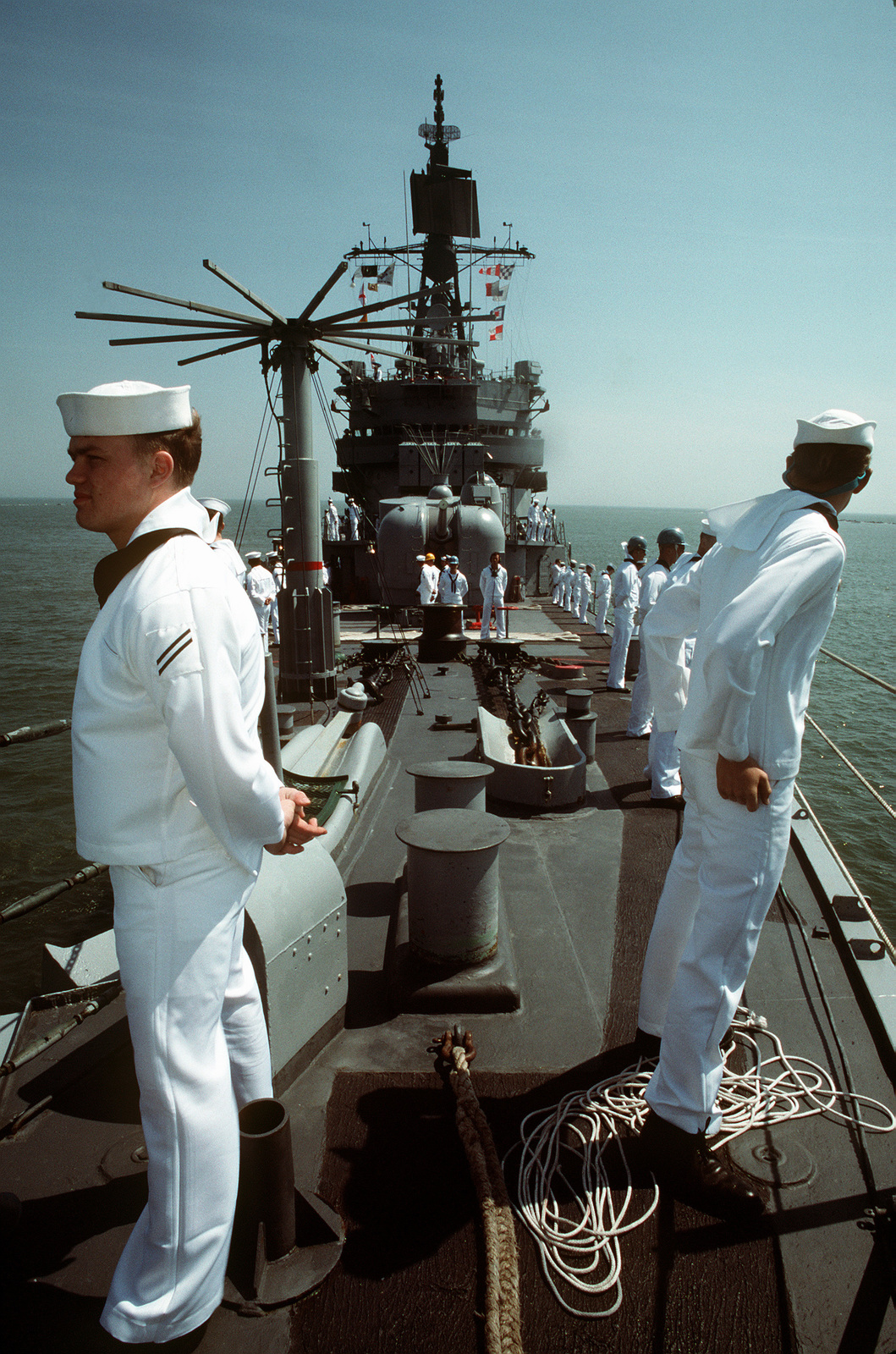 Sailors aboard the guided missile destroyer USS MACDONOUGH (DDG-39) man the rails as the ship approaches the mouth of the Cooper River and the ship's home port of Naval Station, Charleston, S.C. The MACDONOUGH is returning to Charleston following its deployment to the Persian Gulf region for Operation Desert Shield and Operation Desert Storm