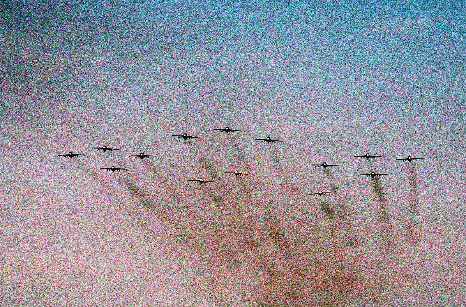 A-6E Intruder aircraft take part in a formation fly over upon their return from deployment in the Persian Gulf during Operation Desert Storm. Returning aircraft are from Carrier Air Wing 17 (CVW-17) and Carrier Air Wing 3 (CVW-3)