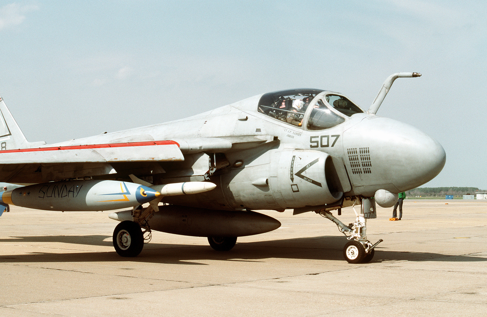An Attack Squadron 75 (VA-75) A-6E Intruder aircraft taxis across the flight line after landing at the air station. The aircraft of Carrier Air Wing 3 (CVW-3), of which VA-75 is a part, and Carrier Air Wing 17 (CVW-17) are returning to their home fields after being deployed in the Persian Gulf region aboard the aircraft carriers USS JOHN F. KENNEDY (CV-67) and USS SARATOGA (CV-60), respectively, for Operation Desert Shield and Operation Desert Storm