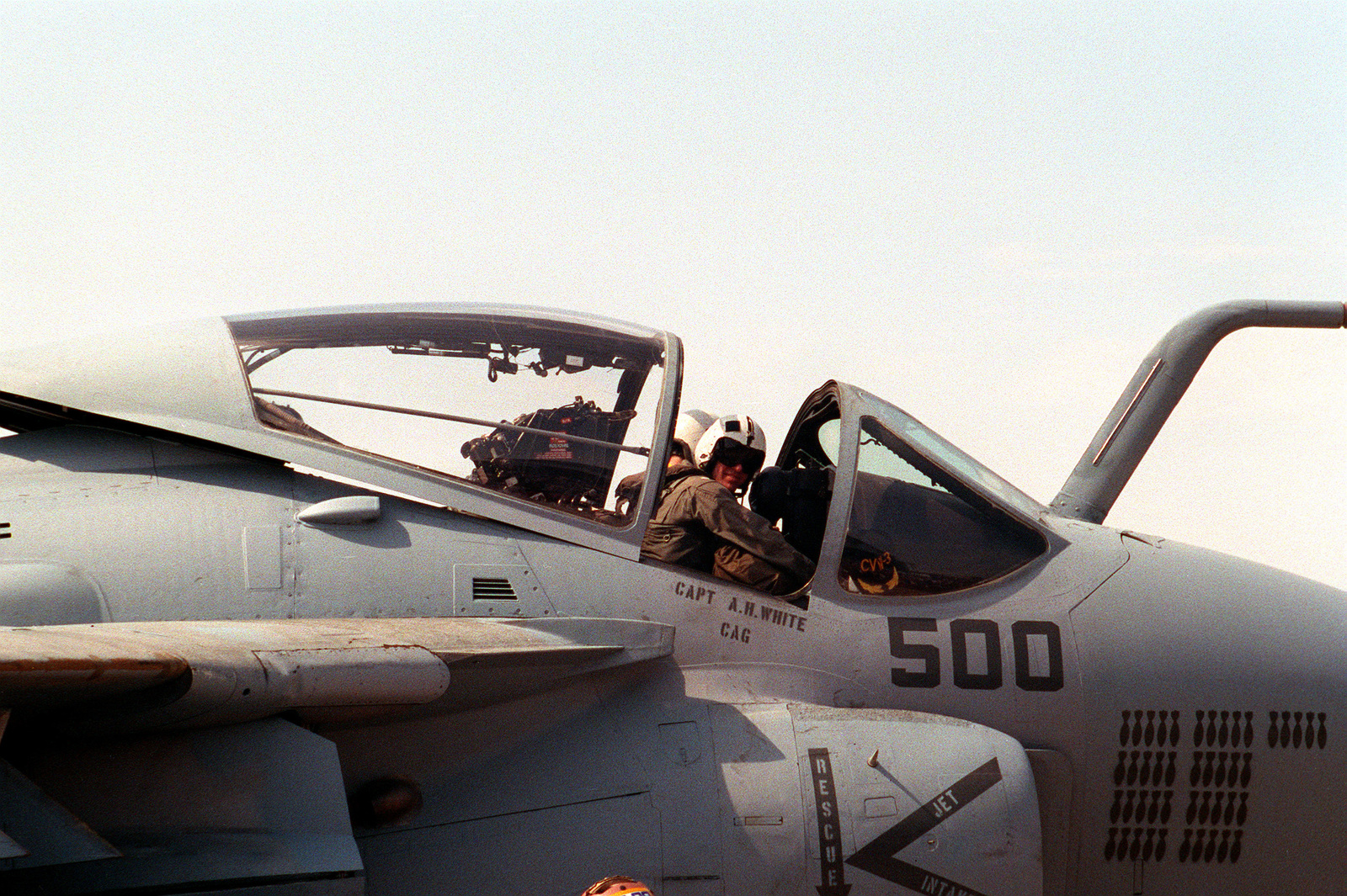 The A-6E Intruder aircraft of CAPT. A.H. White, commander, Carrier Air Wing 3 (CVW-3), arrives on base along with other aircraft from CVW-3 and CVW-17. Military personnel from both wings are returning home after serving in the Persian Gulf during Operation Desert Storm
