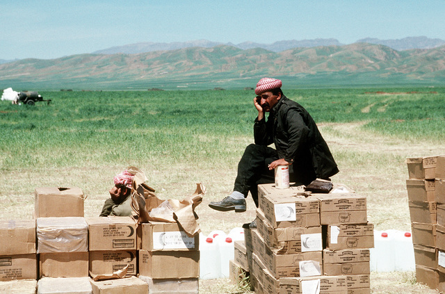 A Kurdish refugee sits atop a stack of supplies on the outskirts of the tent city where he resides. Supplies are being delivered to the camp as part of Operation Provide Comfort, an Allied effort to aid the refugees who fled from the forces of Saddam Hussein in northern Iraq