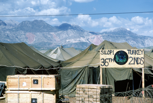 A view of the compound of the U.S. Air Force's 36th Civil Engineering Squadron at a humanitarian services support base set up to support Operation Provide Comfort, a multinational effort to aid Kurdish refugees in southern Turkey and northern Iraq