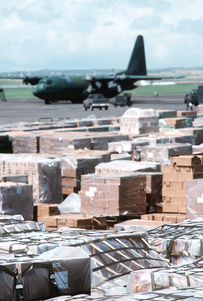 Pallets of cargo await loading onto an Air Force C-130 Hercules aircraft resupplying Kurdish refugee camps along the Turkey-Iraq border during Operation Provide Comfort. By late April, Incirlik had shipped 22,500 short tons of food, water, clothing, shelter materials and support equipment to the Kurds