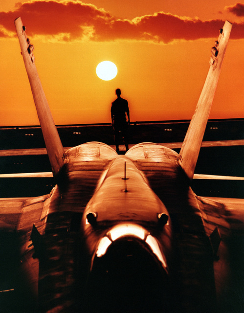 A composite photograph showing a sailor aboard the nuclear-powered aircraft carrier USS ABRAHAM LINCOLN (CVN-72) framed by the tail of an F/A-18C Hornet aircraft as he watches a sunset at sea