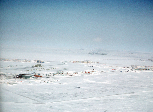 An aerial view of a U.S. military ice station
