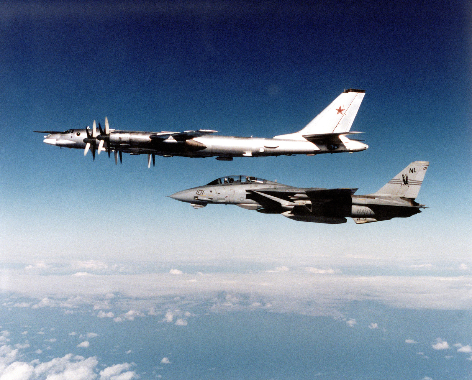 Copy Aerial Image Of A Russian Tupolev Tu 95 Bear With A Us Navy