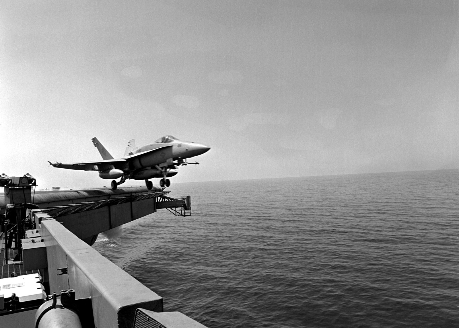 A Strike Fighter Squadron 87 (VFA-87) F/A-18A Hornet aircraft takes to the air as it is launched from the flight deck of the nuclear-powered aircraft carrier USS THEODORE ROOSEVELT (CVN-71). The ROOSEVELT is on station in the eastern Mediterranean in support of Operation Provide Comfort, a multinational effort to aid Kurdish refugees in southern Turkey and northern Iraq