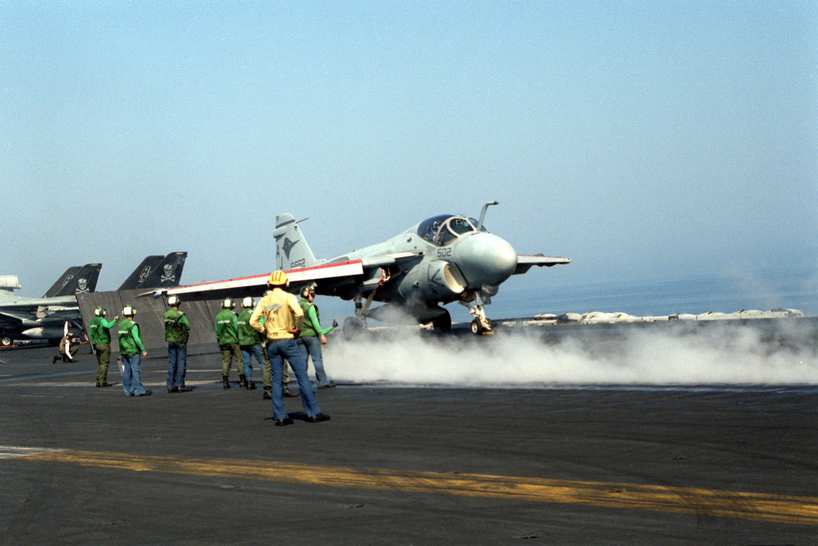 A catapult crew on the nuclear-powered aircraft carrier USS THEODORE ROOSEVELT (CVN-71) prepares to launch an Attack Squadron 36 (VA-36) A-6E Intruder aircraft. The ROOSEVELT is operating in the Adriatic in support of Operation Deny Flight