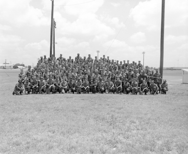 A group portrait of the soldiers of the 49th Adjutant General Company prior to the units demobilization. The company is a reserve unit that was called to active duty during Operation DESERT SHIELD