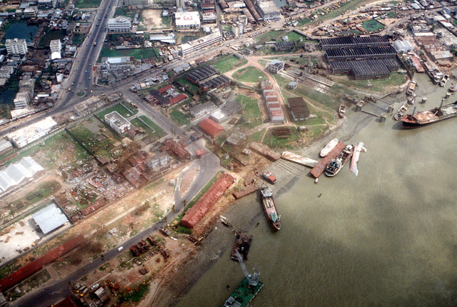 An aerial view of damage sustained by a port area in the aftermath of a cyclone which devastated Bangladesh on April 30th.
