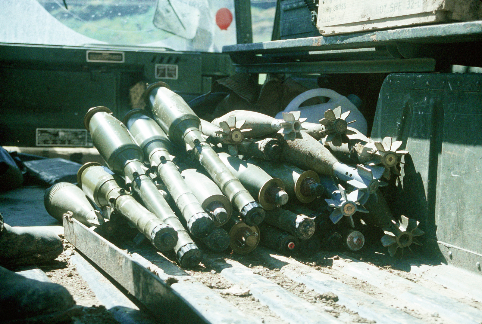 Rocket-propelled grenades and mortar rounds sit in the back