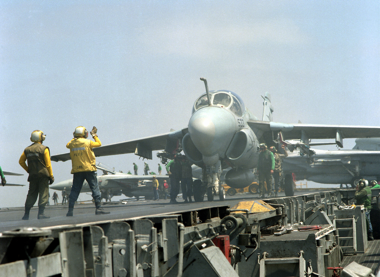 An Attack Squadron 36 (VA-36) A-6E Intruder aircraft is readied for launch on the flight deck of the nuclear-powered aircraft carrier USS THEODORE ROOSEVELT (CVN-71). The ROOSEVELT is on station in the eastern Mediterranean to support Operation Provide Comfort, a multinational effort to aid Kurdish refugees in southern Turkey and northern Iraq.