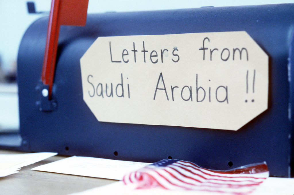 A close-up view of a mailbox in the first grade classroom at Stewardson-Strasburg School. The box is designated for mail from members of the 8th Special Operations Squadron and was used for correspondence from the servicemen, who wrote the students while stationed in the Persian Gulf area during Operations Desert Shield/Desert Storm. Now that they have returned from deployment, the men have traveled to Illinois to meet and spend a day with their pen pals