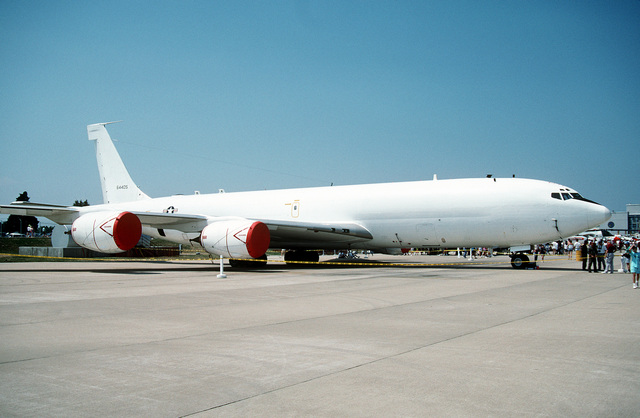 An E-6A Hermes aircraft is parked on the flight line during the station's air show