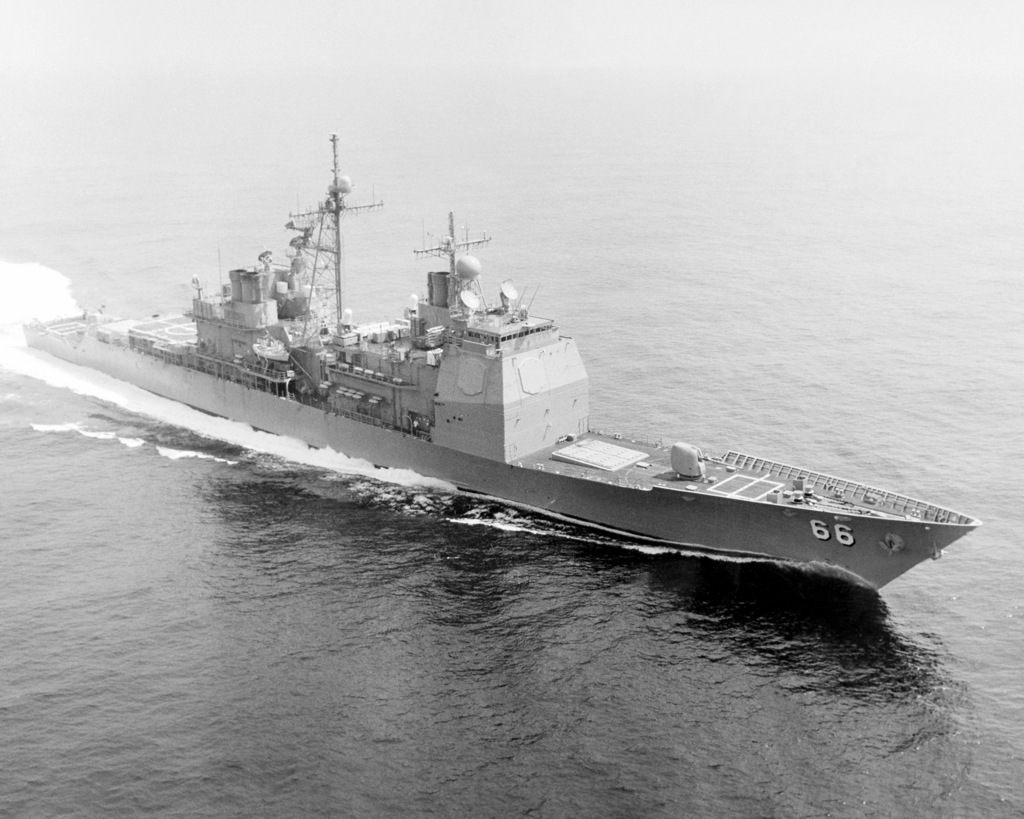 A starboard bow view of the guided missile cruiser USS HUE CITY (CG 66) underway in the gulf prior to its commissioning