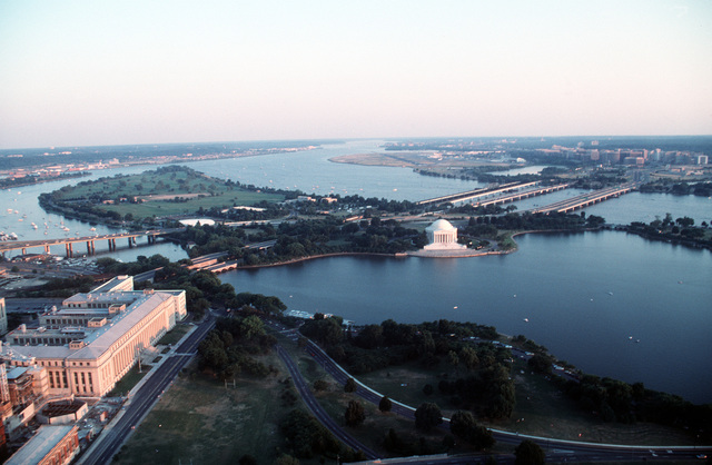 An overview of the Jefferson Memorial and East Potomac Park