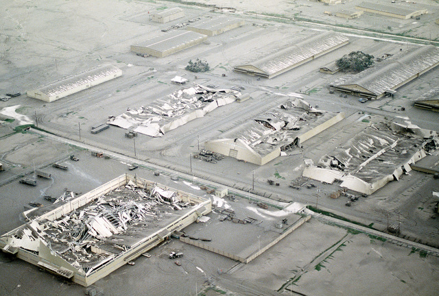 Ash covers the base in the aftermath of Mount Pinatubo's eruption. The volcano, which came alive for the first time in over 600 years, forced the U.S. military to conduct Operation Fiery Vigil evacuation efforts and remove over 20,000 evacuees will be removed from Clark and Naval Station, Subic Bay