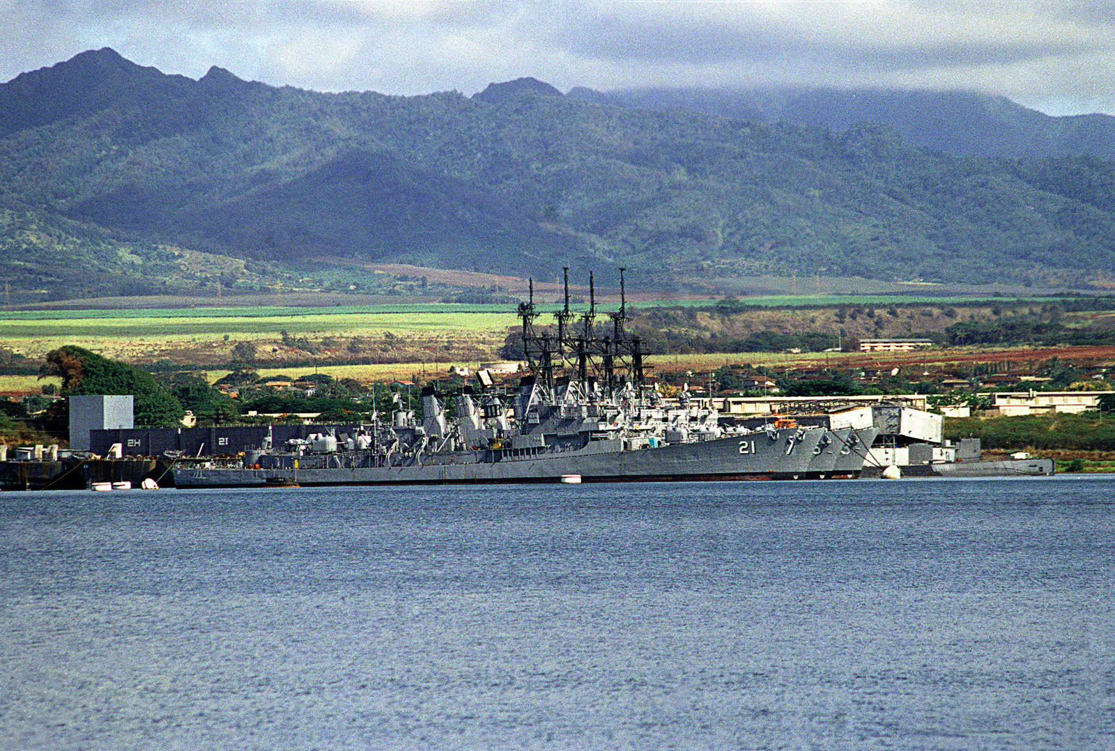 Four decommissioned Charles F. Adams class guided missile destroyers lie tied up in the Middle Loch. The ships are, from front to back: the COCHRANE (DDG-21), the HENRY B. WILSON (DDG-7), the JOSEPH STRAUSS (DDG-16) and the HOEL (DDG-13).
