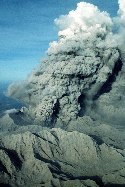 Smoke billows from Mount Pinatubo as the volcano erupts for the first time in over 600 years. More than 20,000 evacuees are being removed from the area as a part of the U.S. military's Operation Fiery Vigil.