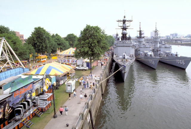 Pacific Fleet ships tied up at a dock during Portland's annual Rose Festival include the destroyer USS DAVID R. RAY (DD-971), the frigates USS MEYERKORD (FF-1058) and USS MARVIN SHIELDS (FF-1066)