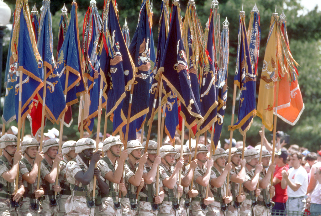 A color guard bears the flags of various units during the National