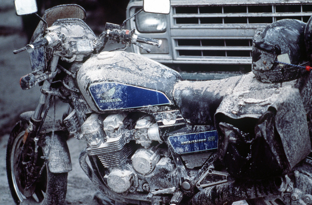 Ash covers a motorcycle in the parking lot at Papaga Agricultural College following the eruption of Mount Pinatubo, a volcano that came alive for the first time in over 600 years. More than 20,000 evacuees have been removed from the area as part of the U.S. military's Operation Fiery Vigil