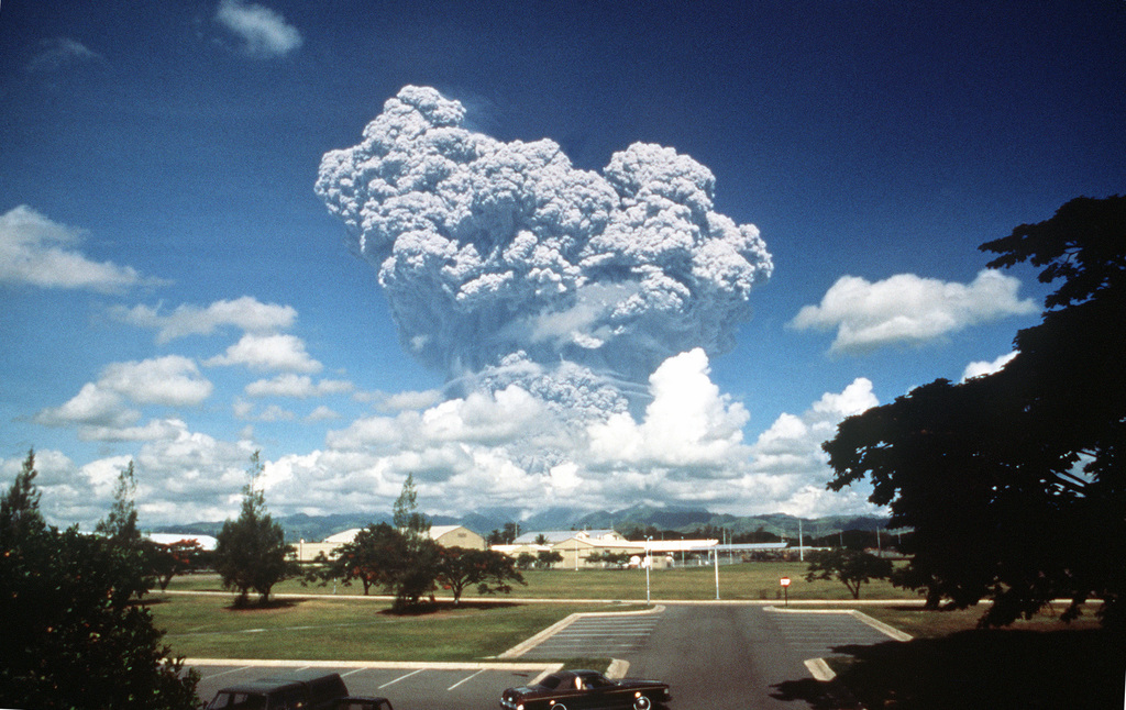 Clouds of ash pour from Mount Pinatubo as the volcano erupts for the first time in over 600 years