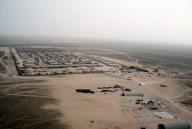 Cargo covers a holding area at Ammo Supply Point 3 near Mishab in preparation for redeployment to the United States in the aftermath of Operation Desert Storm