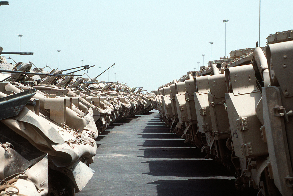 M-3 Bradley cavalry fighting vehicles line a holding area in preparation for redeployment to the United States in the aftermath of Operation Desert Storm