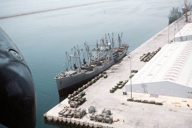 The Military Sealift Command-chartered freighter CAPE BOVER (T-AK-5057) is docked at pierside in preparation for taking on equipment and ordnance for redeployment to the United States in the aftermath of Operation Desert Storm