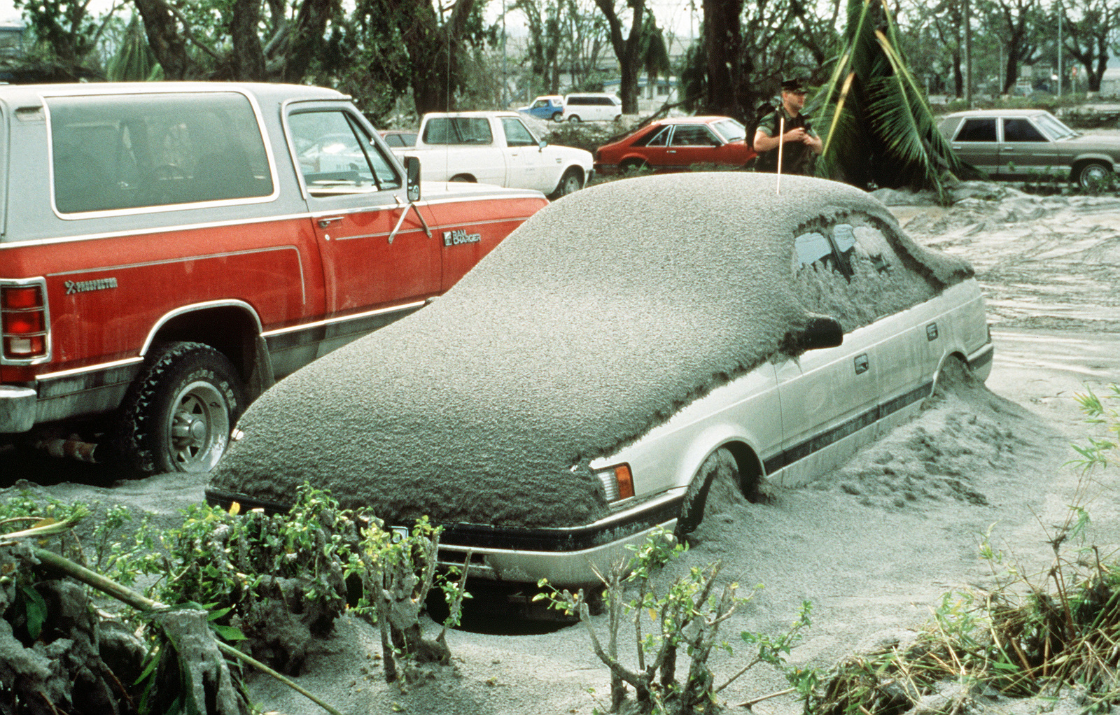 Ash covers a vehicle following the eruption of Mount Pinatubo, a volcano that came alive for the first time in over 600 years. More than 20,000 evacuees have been removed from the area as part of the U.S. military's Operation Fiery Vigil