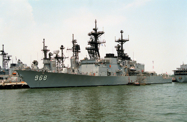 A port bow view of the destroyer USS ARTHUR W. RADFORD (DD-968) tied up at pier 23. The vessel has returned to Norfolk following deployment in the Persian Gulf area during Operation Desert Storm.