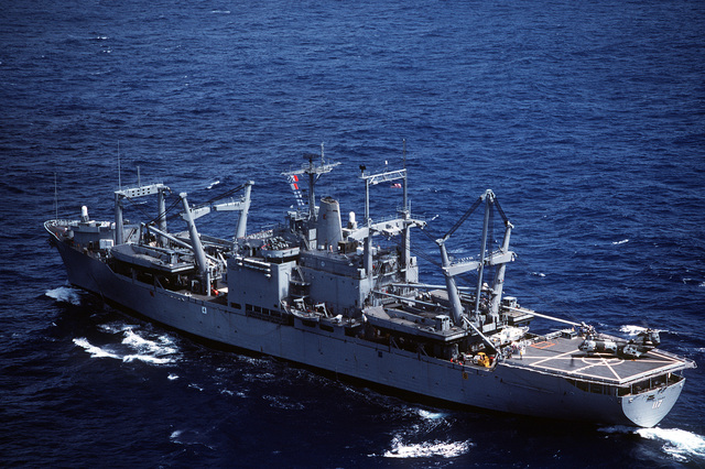 A port quarter view of the amphibious cargo ship USS EL PASO (LKA-117) underway. Elements of the 26th Marine Expeditionary Unit (26th MEU) are embarked aboard the EL PASO for a Mediterranean deployment