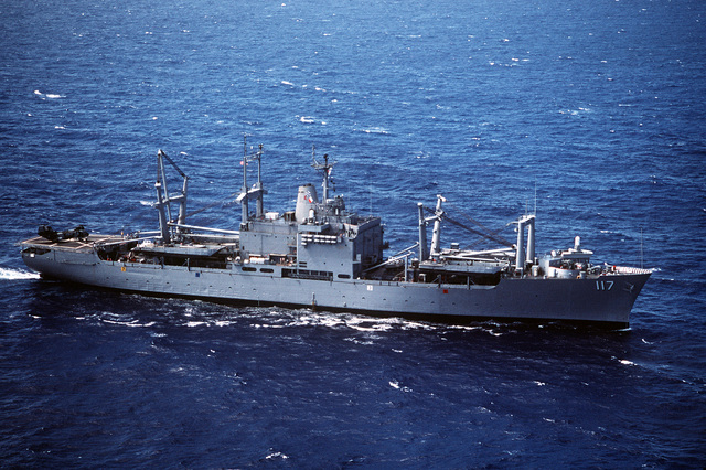 A starboard view of the amphibious cargo ship USS EL PASO (LKA-117) underway. Elements of the 26th Marine Expeditionary Unit (26th MEU) are embarked aboard the EL PASO for a Mediterranean deployment