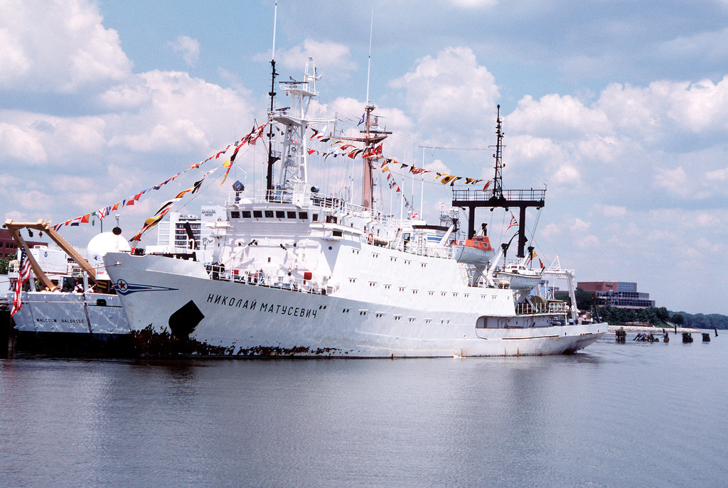 A port bow view of the Soviet oceanographic research ship Nikolav Matusevich docked alongside the National Oceanic and Atmospheric Administration's research vessel, the Malcolm Baldrige (R-103). Both ships are open to the public for tours