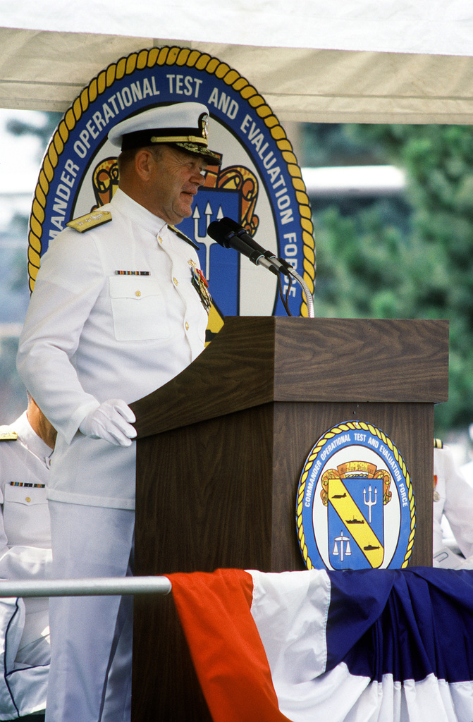 RADM Hugh L. Webster speaks during the change of command ceremony at which he relinquishes command of the Operational Test and Evaluation Force to RADM Virgil L. Hill Jr