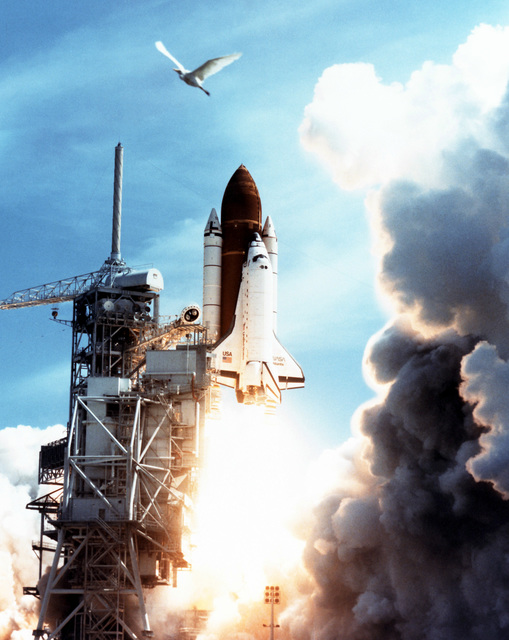 The Space Shuttle Atlantis lifts off from Launch Pad 39A to begin a nine-day mission