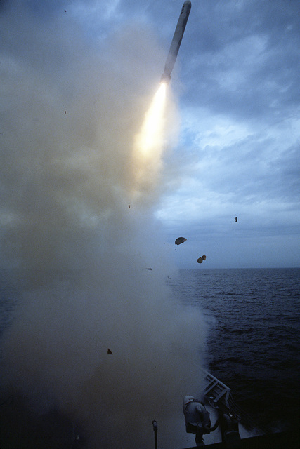A BGM-109 Tomahawk land-attack missile (TLAM) rises into the air after being launched from the forward vertical launch system (VLS) aboard the guided missile cruiser USS BUNKER HILL (CG-52) during Operation Desert Storm