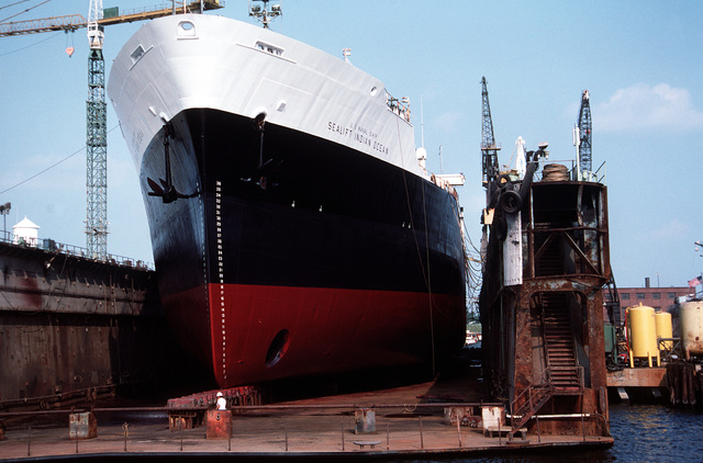 A view of the bow of the Military Sealift Command transport oiler USNS SEALIFT INDIAN OCEAN (T-AOT 171) as the ship sits in the dry dock Virginian at the Norfolk Shipbuilding and Drydock Corp. while undergoing overhaul work