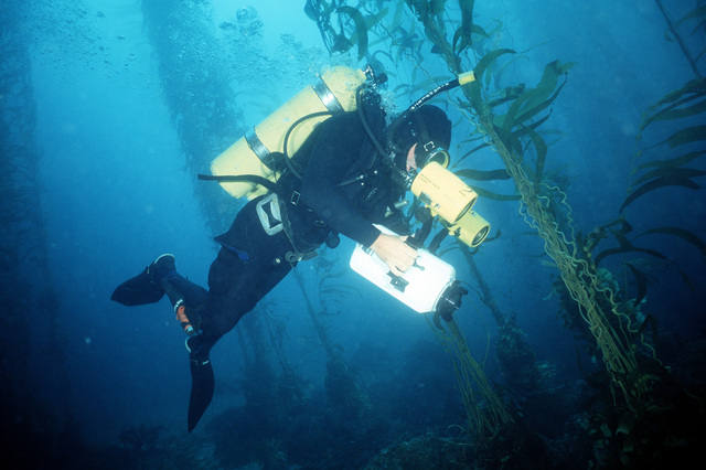 MASTER CHIEF Hierholzer, a master diver and member of Underwater Construction Team 2 (UCT-2) of Port Hueneme, California, operates an underwater video camera. UCT-2 is repairing underwater cable off the coast of the island