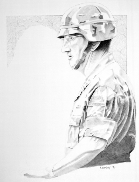 "Artwork: ""MG Ronald H. Griffeth -- 1ST Armored Division Commander"". Artist: SGT Adam Glenday, Catalog Number: 10.21.90"