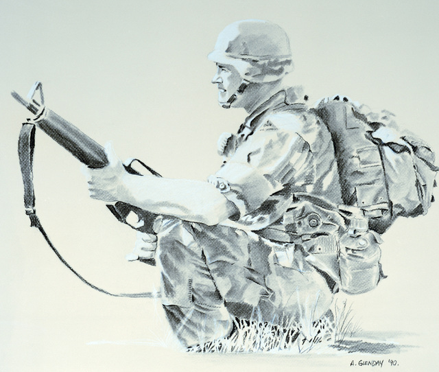 "Artwork: ""Sunlit Soldier -- Fire Team Maneuvers"". Artist: SGT. Adam Glenday, Catalog Number: 10.25.90"