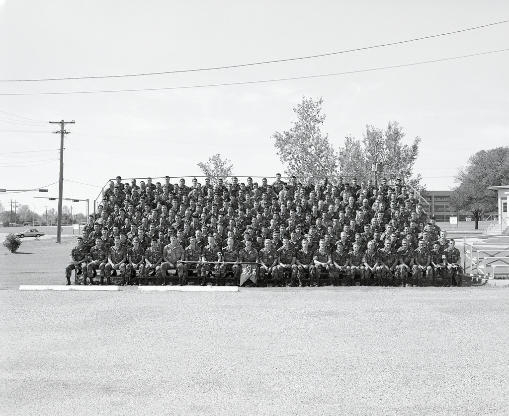 A group portrait of the soldiers of Company, 3rd Battalion, 141st Infantry, prior to the units demobilization. The company is a reserve unit that was called to active duty during Operation DESERT SHIELD
