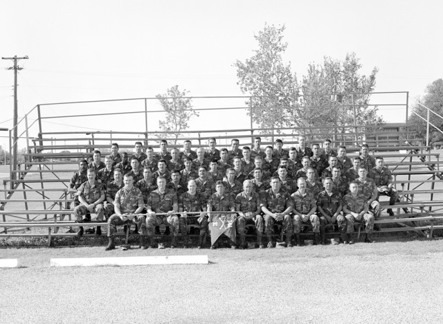 A group portrait of the soldiers of Company E, 3rd Battalion, 141st Infantry, prior to the units demobilization. The company is a reserve unit that was called to active duty during Operation DESERT SHIELD