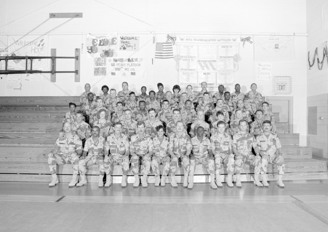 A group portrait of the soldiers of the 341st Medical Group prior to the unit's demobilization. The company is a reserve unit that was called to active duty during Operation DESERT SHIELD